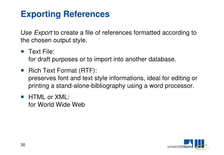 Exporting References