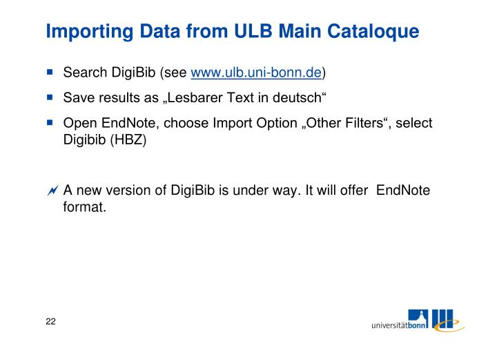 Importing Data from ULB Main Cataloque