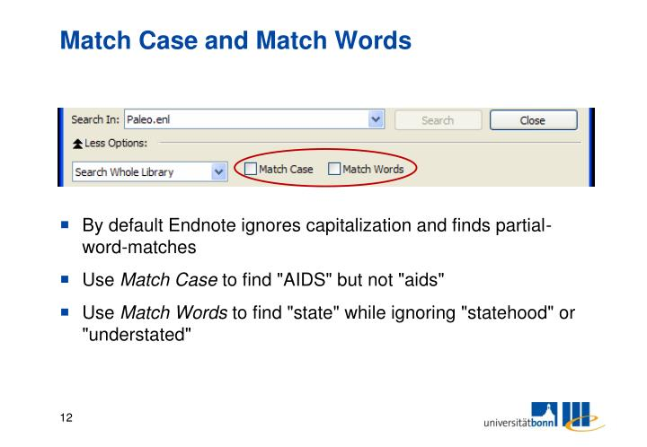 Match Case and Match Words