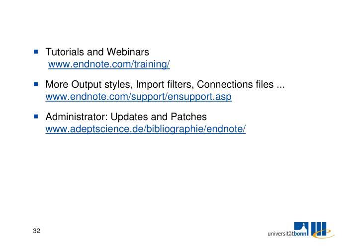 Tutorials and Webinars