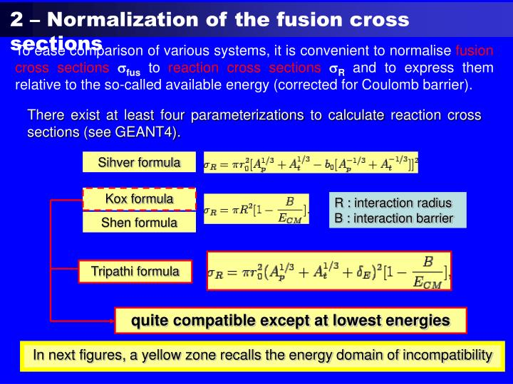 2 – Normalization of the fusion cross sections