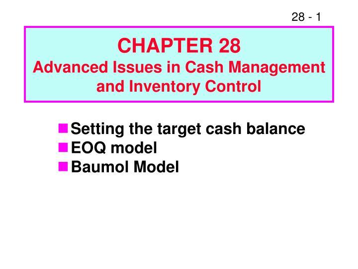 baumol model of cash management essay - 559 words Reprints 3000-1 reprints nr 3000  supply chain management:  semi-parametric estimation in a single-index model with endogenous variables.