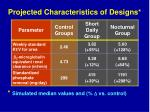projected characteristics of designs1