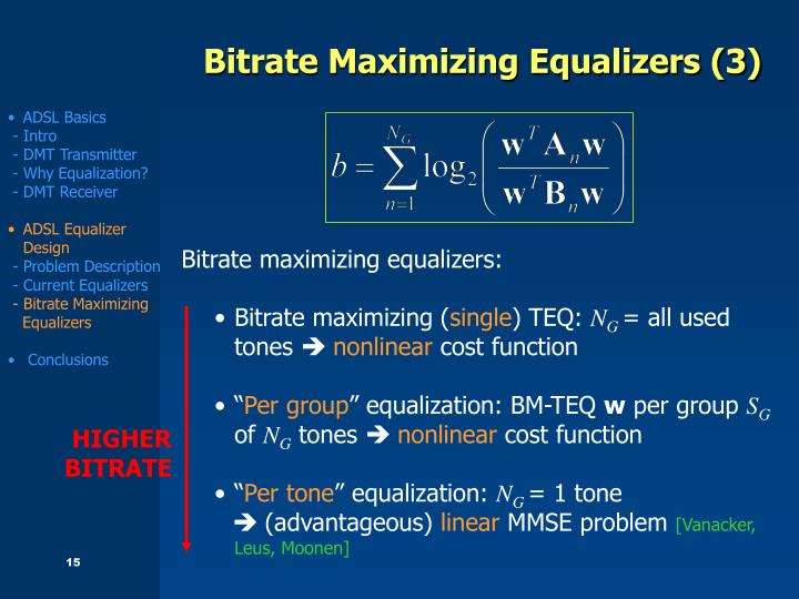 Bitrate Maximizing Equalizers (3)