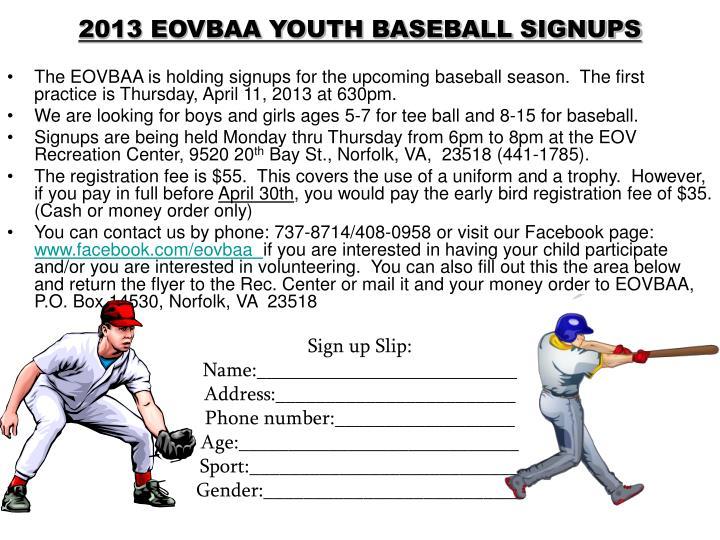 2013 EOVBAA YOUTH BASEBALL SIGNUPS