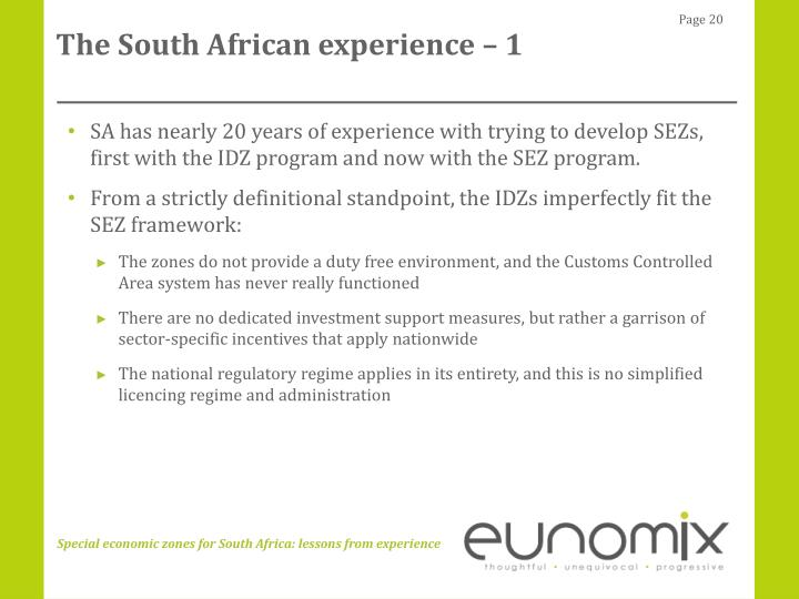 The South African experience – 1