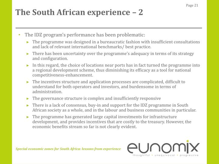 The South African experience – 2