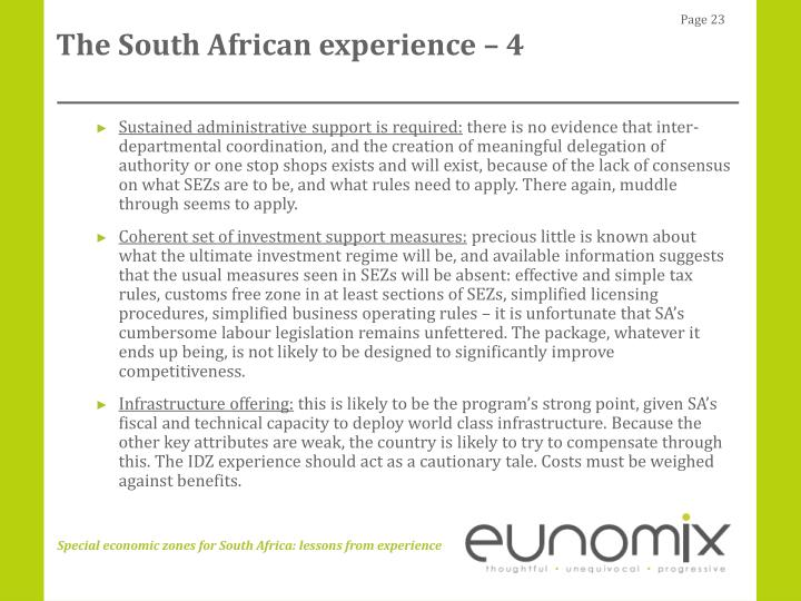 The South African experience – 4