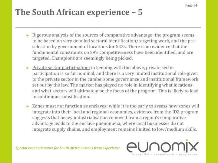 The South African experience – 5