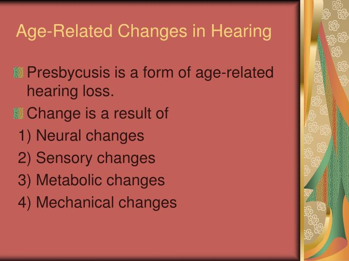 Age-Related Changes in Hearing