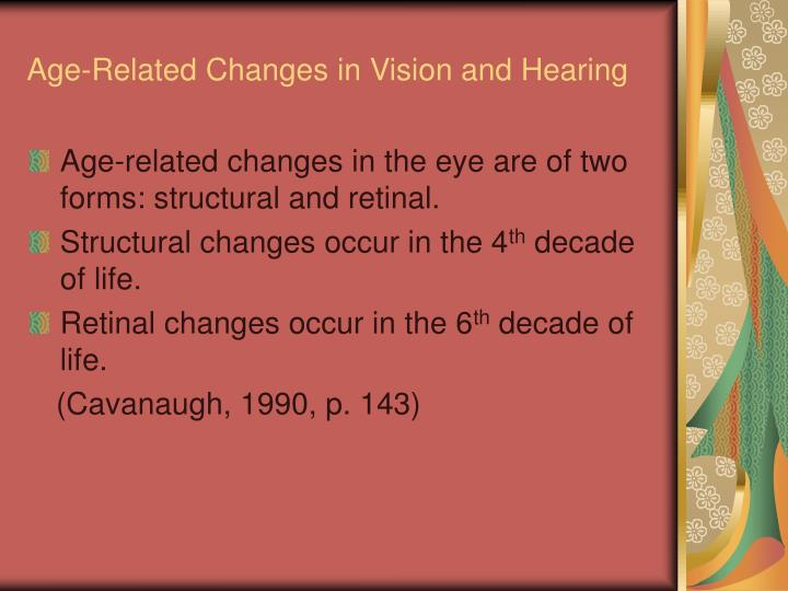 Age-Related Changes in Vision and Hearing