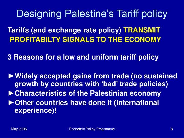 Designing Palestine's Tariff policy