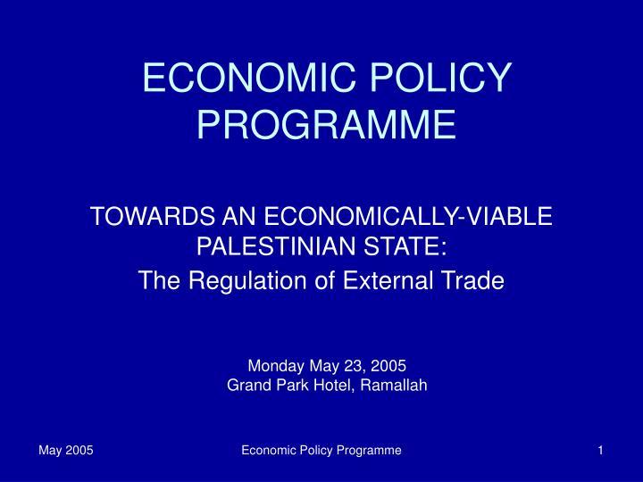 Economic policy programme