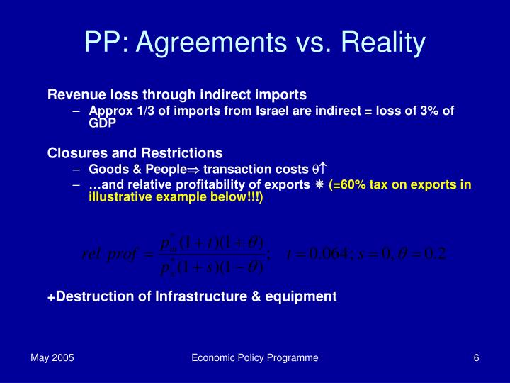 PP: Agreements vs. Reality