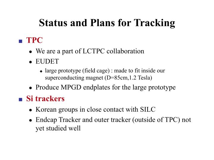 Status and Plans for Tracking