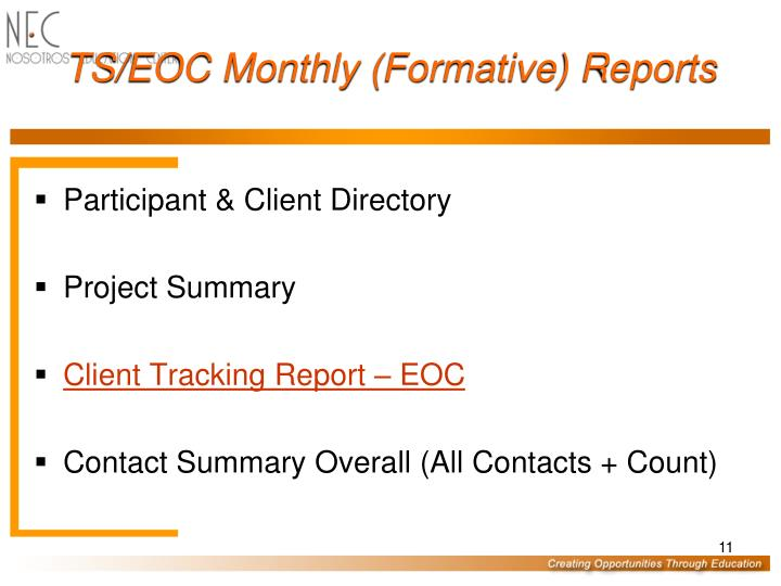 TS/EOC Monthly (Formative) Reports