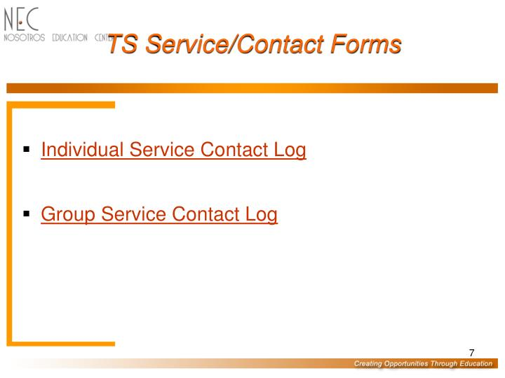 TS Service/Contact Forms