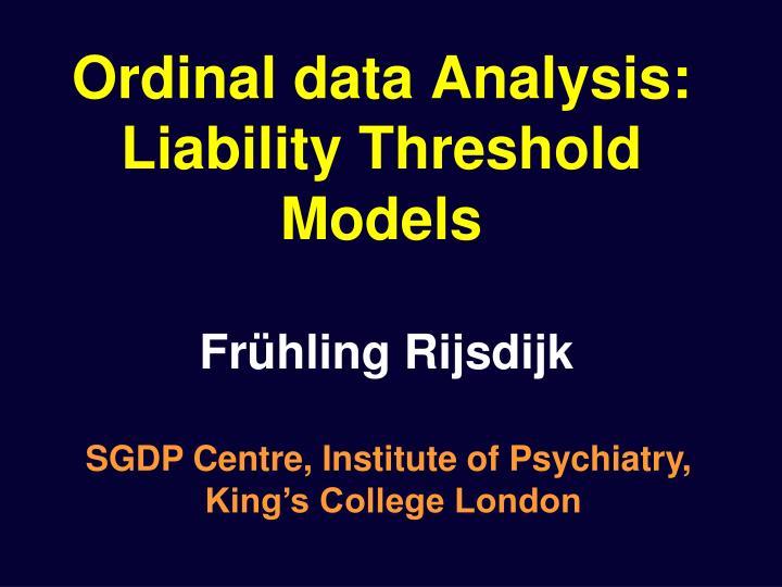 ordinal data analysis liability threshold models n.