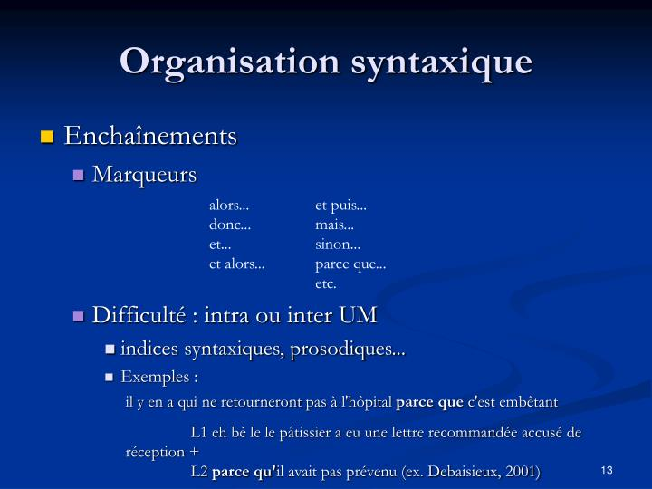 Organisation syntaxique