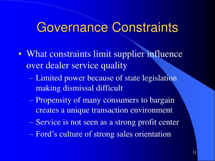 Governance Constraints