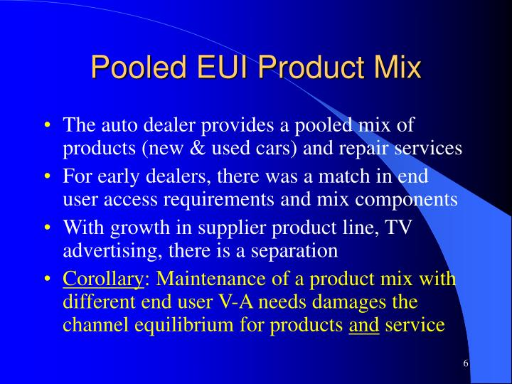 Pooled EUI Product Mix