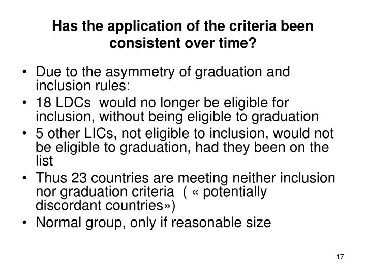 Has the application of the criteria been consistent over time?