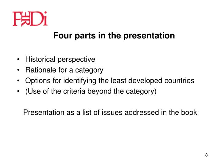 Four parts in the presentation