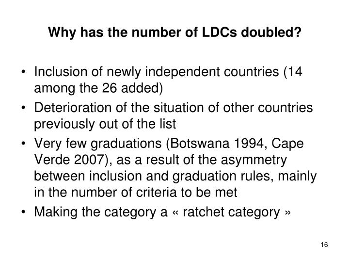 Why has the number of LDCs doubled?