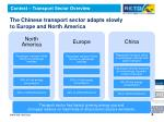 the chinese transport sector adapts slowly to europe and north america