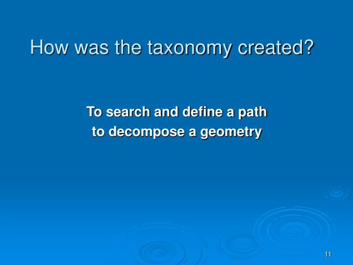 How was the taxonomy created?