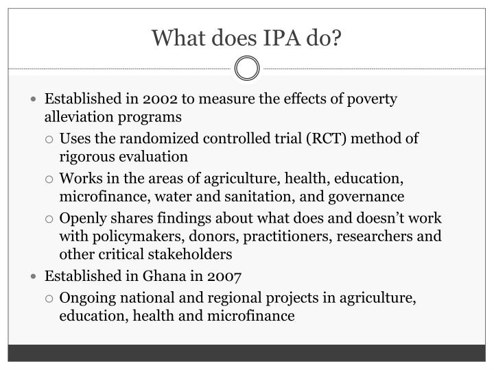 What does IPA do?