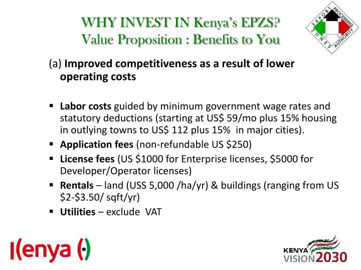 WHY INVEST IN Kenya's EPZS?