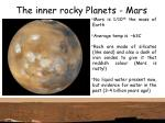 the inner rocky planets mars