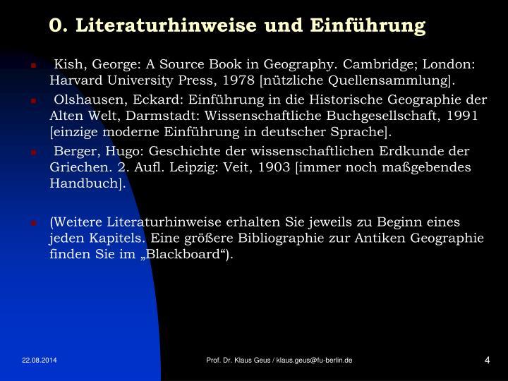 0. Literaturhinweise und Einführung