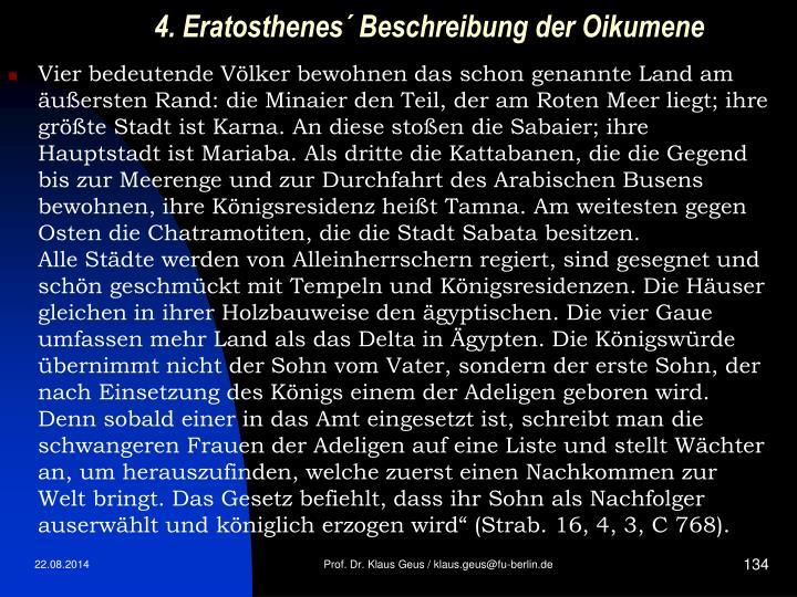 4. Eratosthenes´ Beschreibung der Oikumene