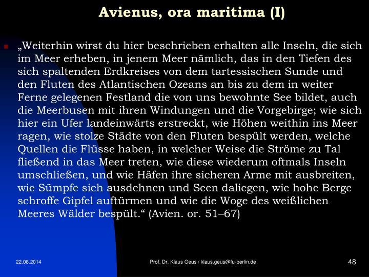 Avienus, ora maritima (I)