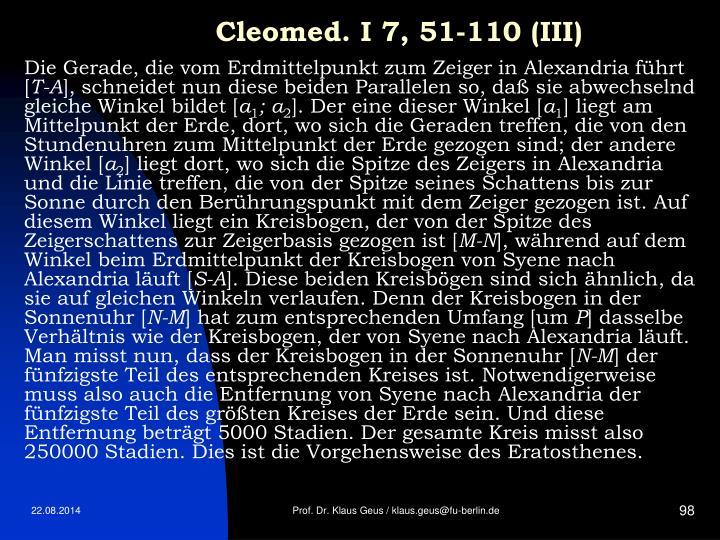 Cleomed. I 7, 51-110 (III)