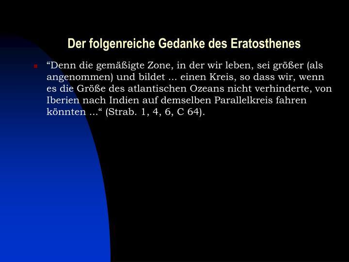 Der folgenreiche Gedanke des Eratosthenes