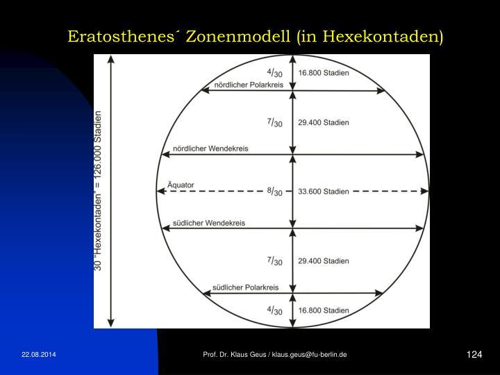 Eratosthenes´ Zonenmodell (in Hexekontaden)
