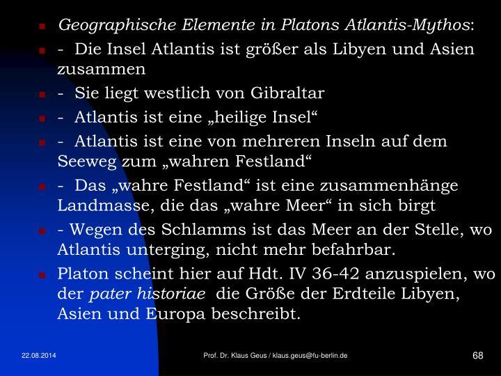 Geographische Elemente in Platons Atlantis-Mythos