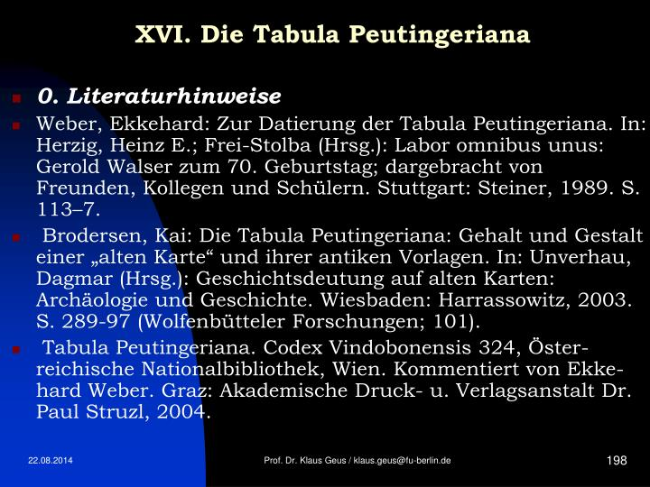 XVI. Die Tabula Peutingeriana