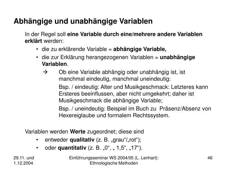 Abhängige und unabhängige Variablen