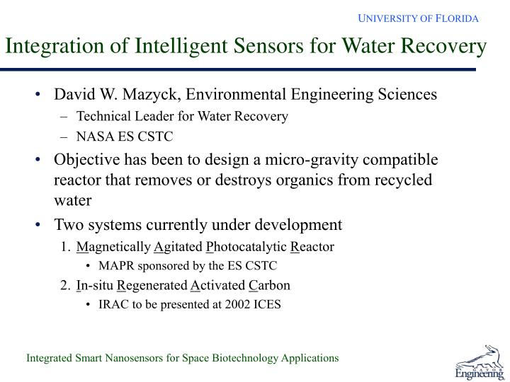 Integration of Intelligent Sensors for Water Recovery