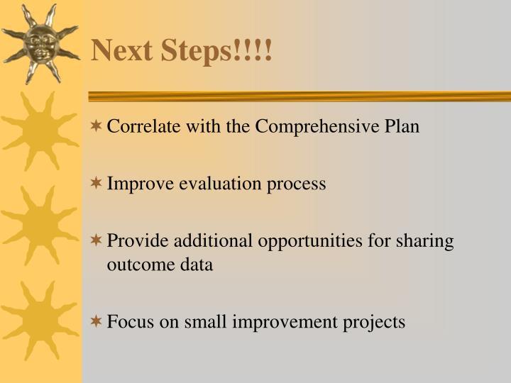 Next Steps!!!!