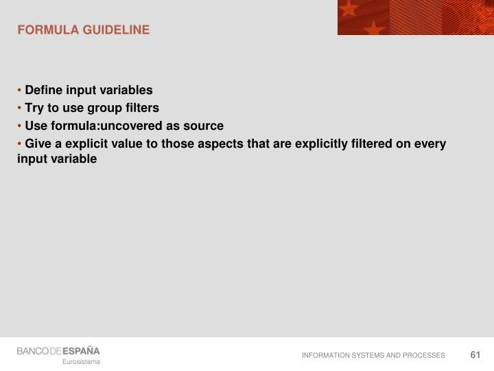 Formula guideline