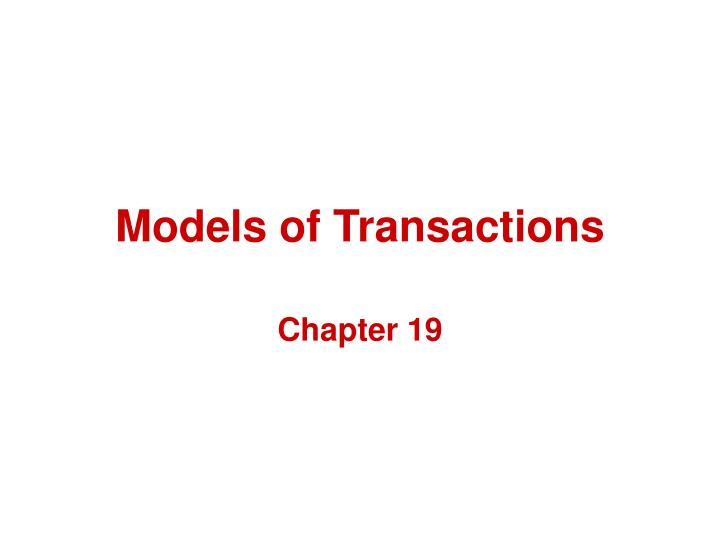 models of transactions n.