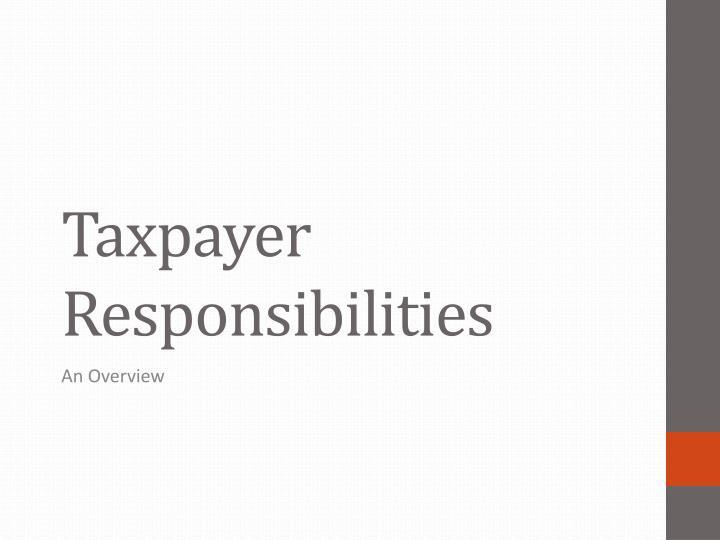 taxpayer responsibilities n.