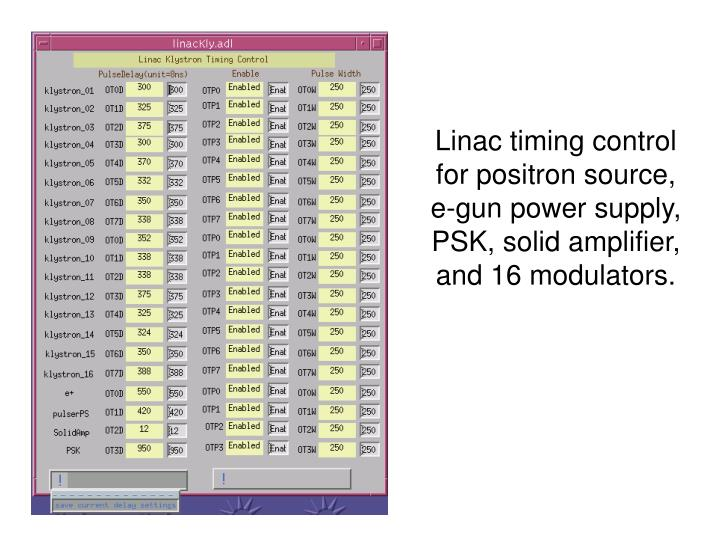 Linac timing control for positron source,