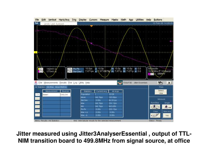 Jitter measured using Jitter3AnalyserEssential , output of TTL-NIM transition board to 499.8MHz from signal source, at office