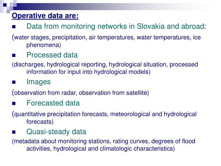 Operative data are: